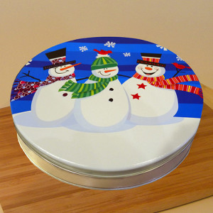 "10"" Shoofly Pie in Snowmen Tin"